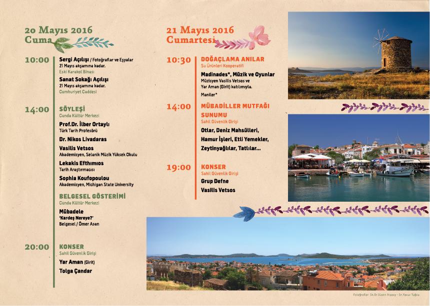Πρόγραμμα των εκδηλώσεων (στην τουρκική) για το ταξίδι σε Αϊβαλί-Μοσχονήσια